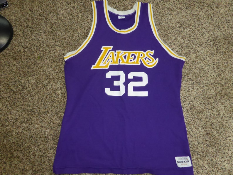 Vtg Magic Johnson Los Angeles Lakers Sand Knit MacGregor NBA  361134d13