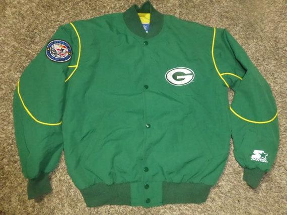 new style 707a4 f1b47 Vtg Green Bay Packers SEWN Starter NFL Nylon Satin Jacket Sz Men's M