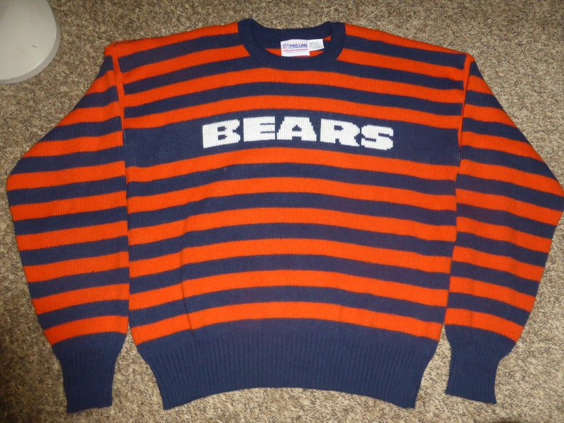 outlet store 1c67f 2e59d Vtg 80's Chicago Bears Cliff Engle Striped Mike Ditka NFL Wool Sweater  Sweatshirt Sz Men's XL