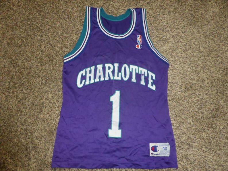 7af4c4cdd Vtg Muggsy Bogues Charlotte Hornets NBA Champion Jersey Sz