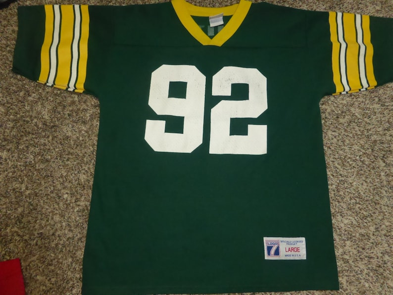 newest df97b d3b7e Vtg Reggie White Green Bay Packers NFL Logo 7 Jersey Sz Youth L 14-16