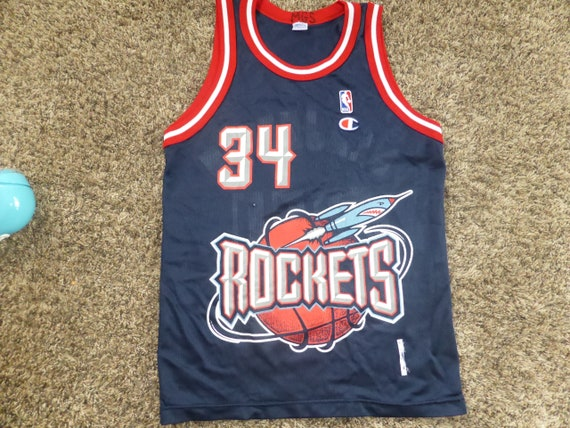 new styles d9aa0 29e76 Vtg Hakeem Olajuwon Houston Rockets NBA Champion Jersey Sz Men's 36 S