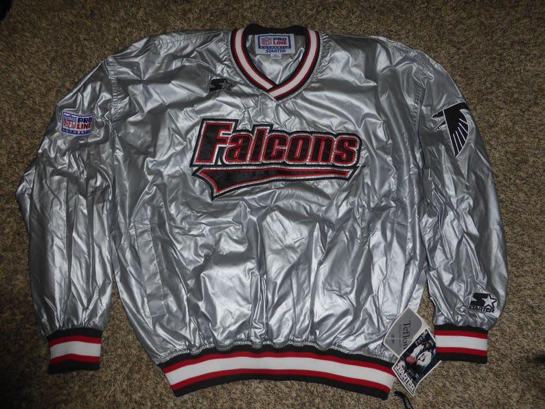 149a7776 Vtg NWT Atlanta Falcons Silver Authentic Pro Line Starter NFL Pullover  Sewnn Jacket Sz Men's XL