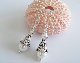 Swarovski Pearl, Crystal  and Sterling Silver Drop Earrings - Item S1581