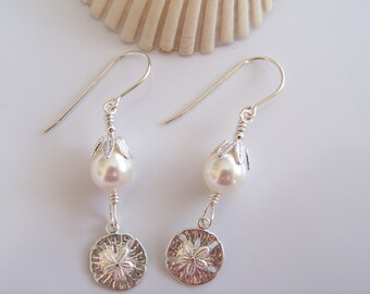 Swarovski Pearl and Sterling Silver Sand Dollar Earrings - Item E1571