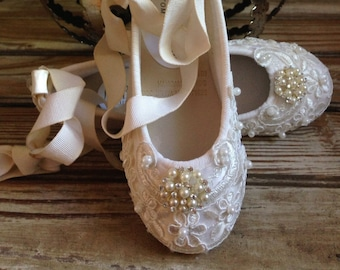Custom Ballet Style Ivory Flower Girl Shoes Satin Beaded  Alencon Lace Pearl & Crystal Ankle Tie  First Communion Victorian Style