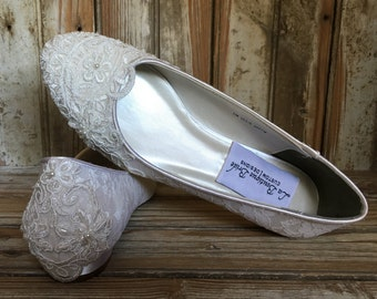 2013a3d869b Closed Toe All Lace Hand Beaded Victorian Style Flat Low Heel Bridal Shoe