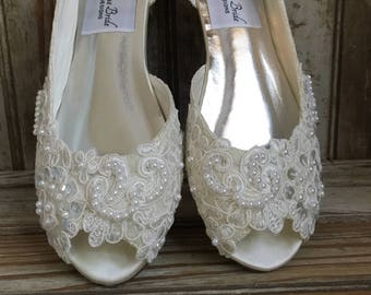 843bae4d6d61 Open Toe Lace Beaded Flat Satin and Lace Bridal Shoe Peep Toe Lace Wedding  Flat Shoe Victorian Style Lace Flat Shoe