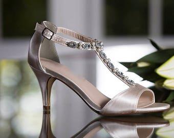 e6458885c6b Embellished T Strap Bridal Bridesmaid Sandal Low Heel Open Toe Shoe  Rhinestone Pearl Straps