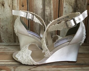 7cd7030b747 Bridal Wedding Sandal Wedge Criss Cross Strap Wedge Wedding Sandal Lace  beaded Wedge