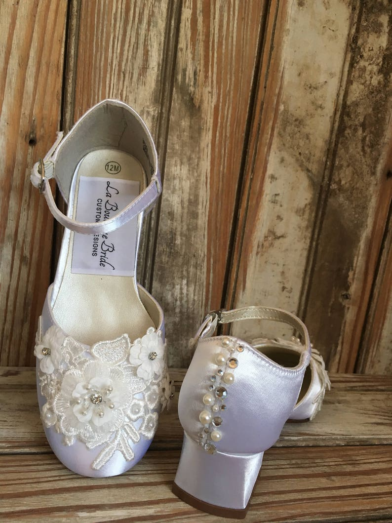 b65ce85070d72 Mary Jane Flower Girl with Heel Low Heel Communion Shoes Girls Satin Beaded  Shoe With Low Heel