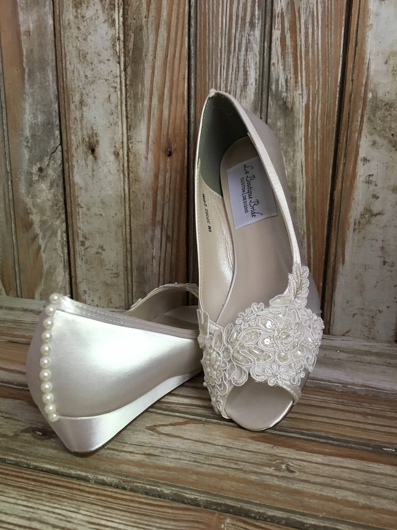 ced6ec0debc6a2 Open Toe Lace Beaded Low Wedge Satin and Lace Bridal Shoe Peep