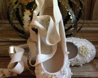 Custom Bridal Beaded Lace Flats Victorian Ballet Style Bride Bridesmaid Ankle Tie Ivory
