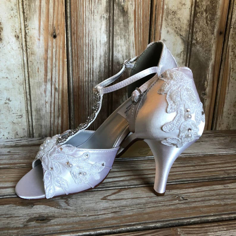 400be4d75f0 Rhinestone and lace bridal shoe beaded T strap open toe bridal