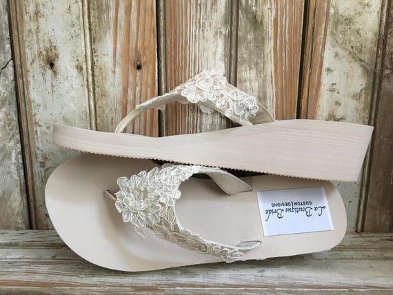 d6d10cbaf26a Ivory Wedge Bridal Wedding Flip Flop Lace Beads Details