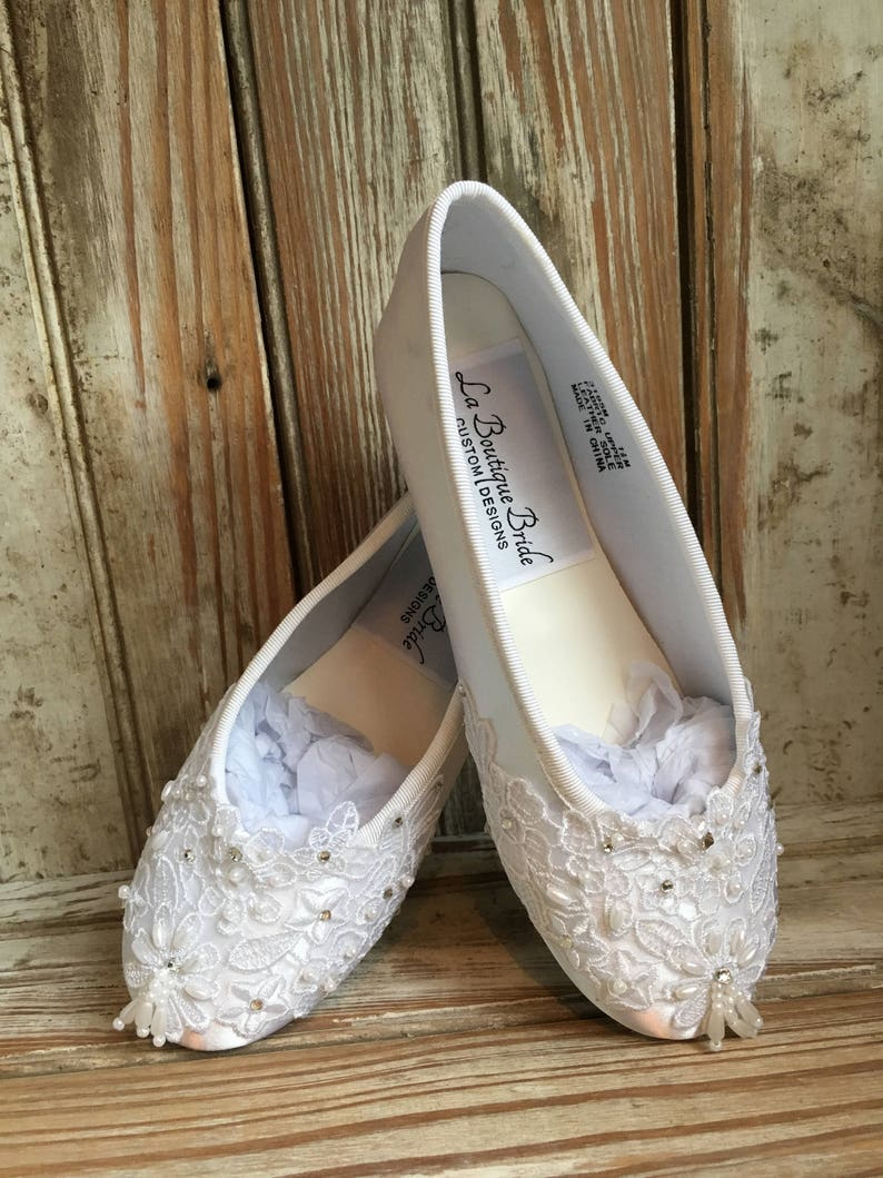 0d852485808d8 First Holly Communion Flower Girl Shoes White Ivory Communion Lace Beaded  Ballet Flat