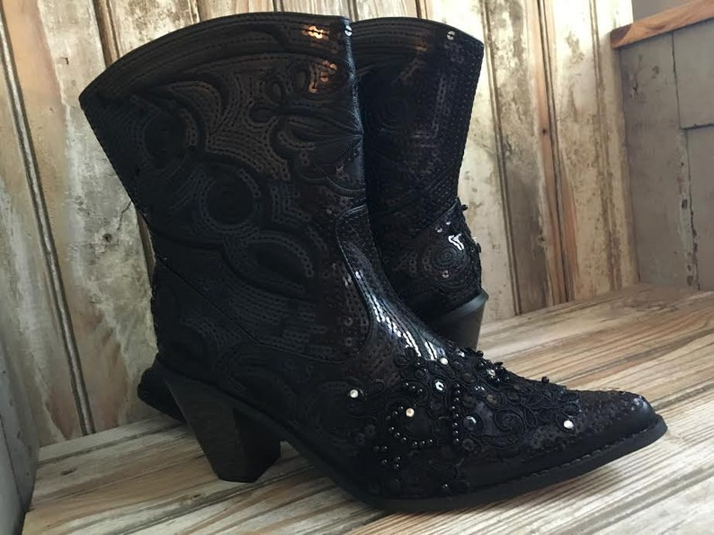 Black Bling Cowboy Boots Hand made with