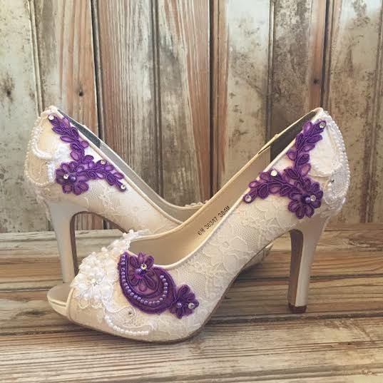 Colored Bridal Shoes Purple Ivory White All Lace Beaded