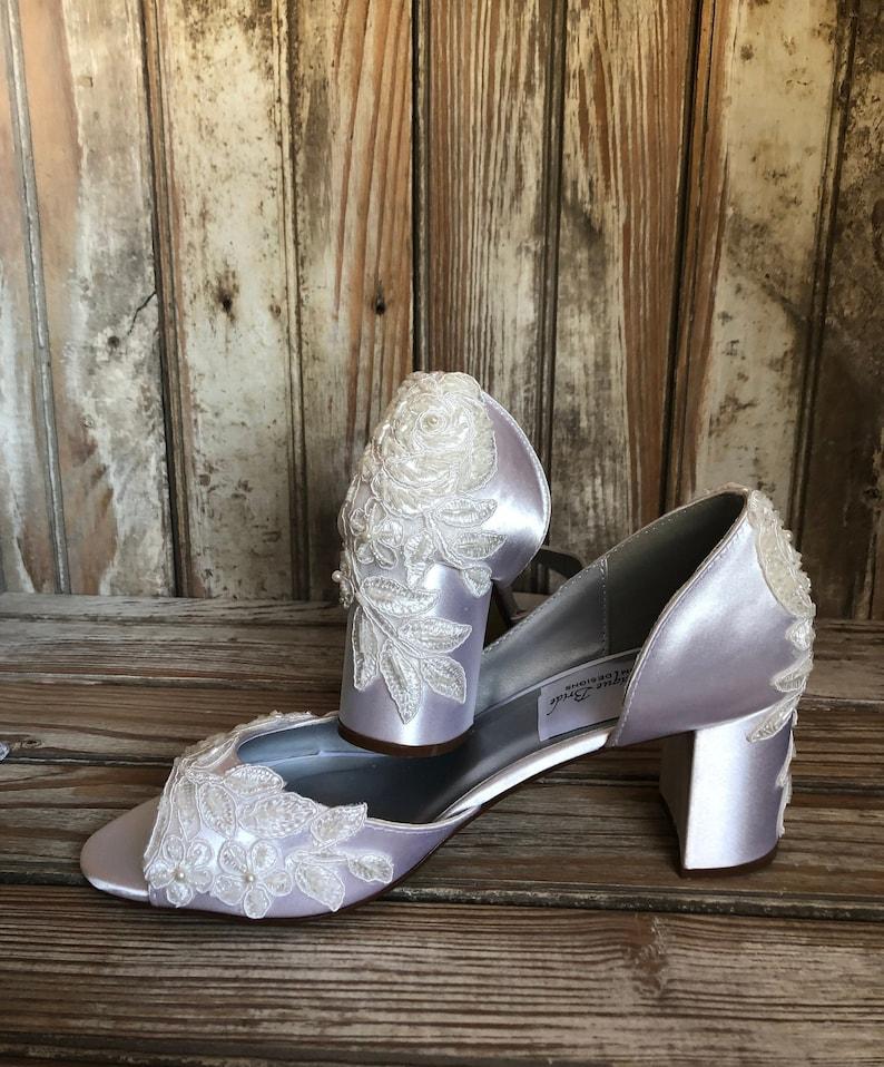 ceb43607e438 Open Toe Bridal Pump Block Heel Wedding Shoe Bridal Shoe Open