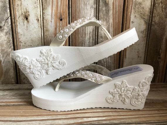 ed2828348 Beaded Bridal Wedge Flip Flop Embellished Sides Lave Beaded