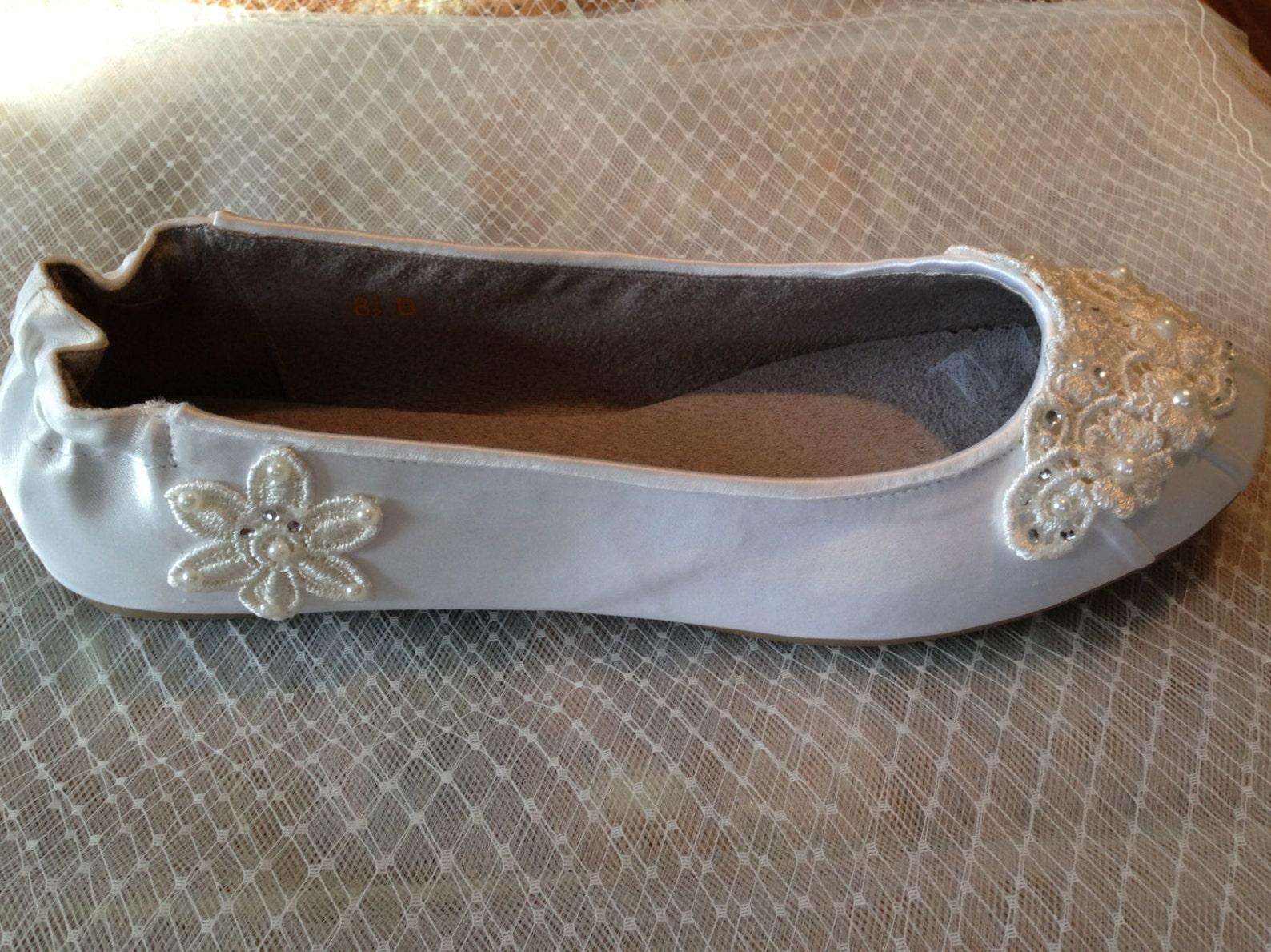 ivory white custom lace beaded bridal ballet flat beaded wedding flat