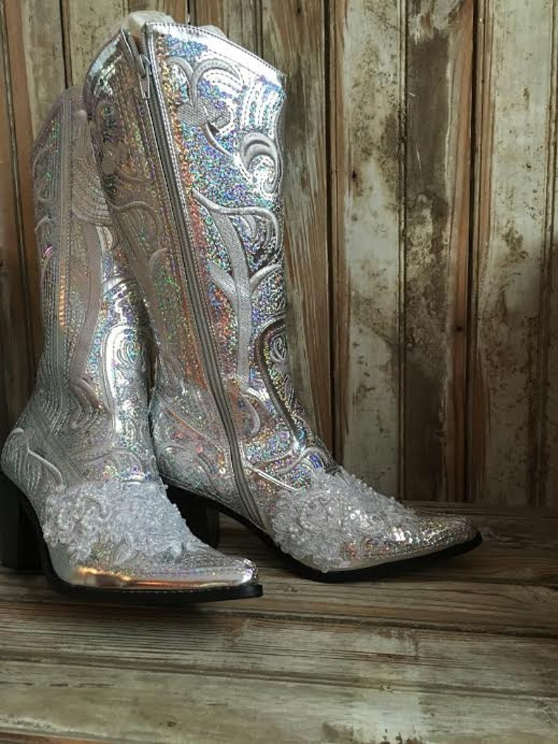 a1a0558cc4265 Silver Bling Boot Bridal Boot Cowgirl Country Wedding Beaded Prom Boot Lace  Sequin Boot Wedding Boot Mother of bride