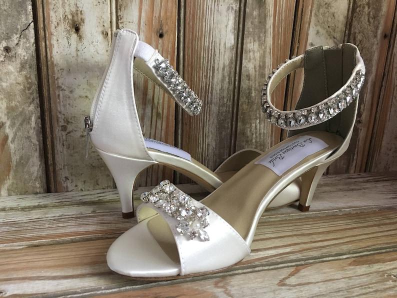 55bb60050cc Couture Style Medium Heel Rhinestone Ankle Strap Silk Bridal Sandal Wedding  Sandal Ivory White Silk Bridal Shoe Rhinestone Prom Shoe