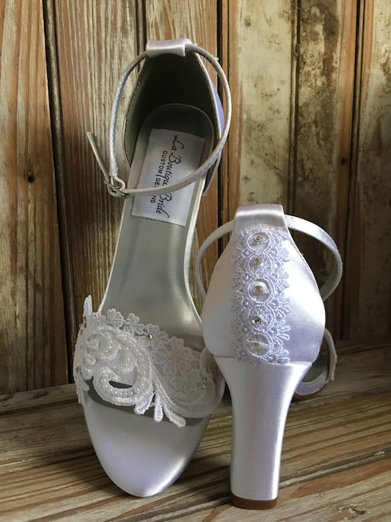 Bridal Shoe With Block Heel Sandal Beaded Lace Wedding