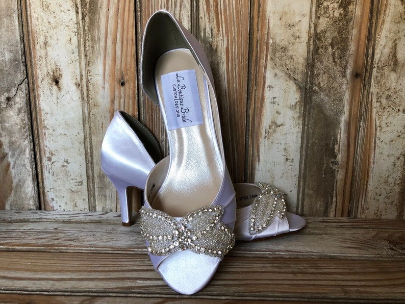 e7acdaeab1c Rhinestone bridal shoe embellished open toe pump 3 heel