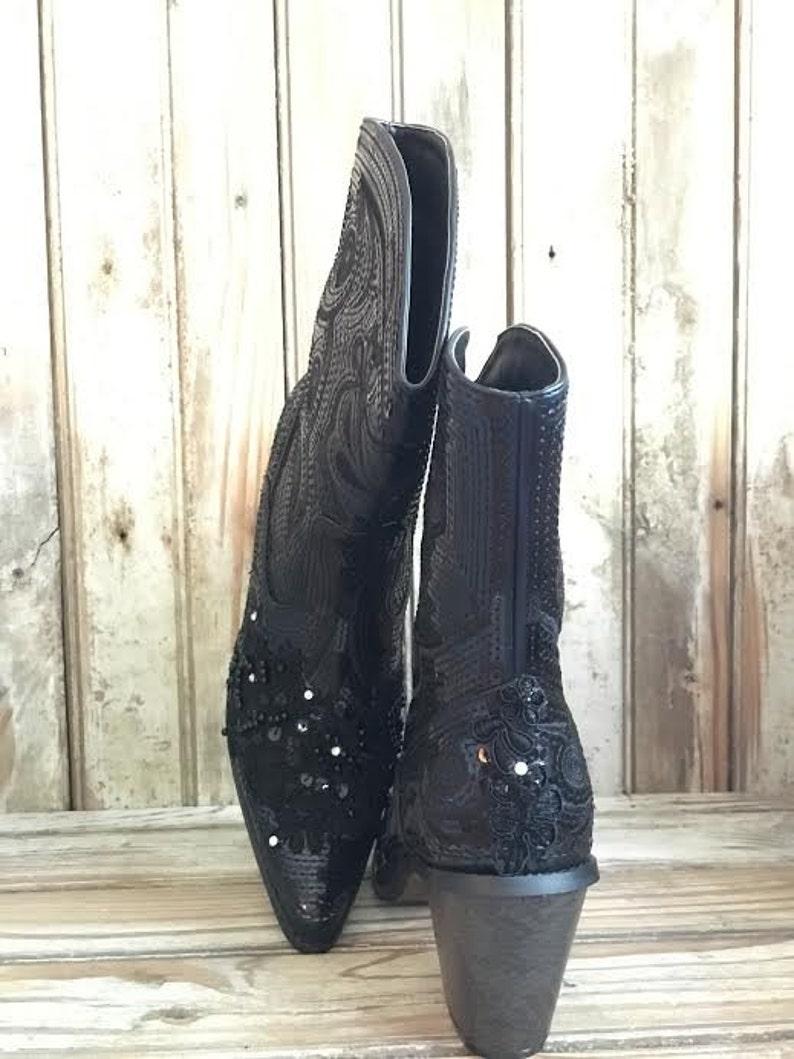 de fait perlée mainDemoiselle cow Prom dentelle bottes d'honneurbottes paillettesperles CowboyCowgirl Noir Bling boy de de et wPX80nOk