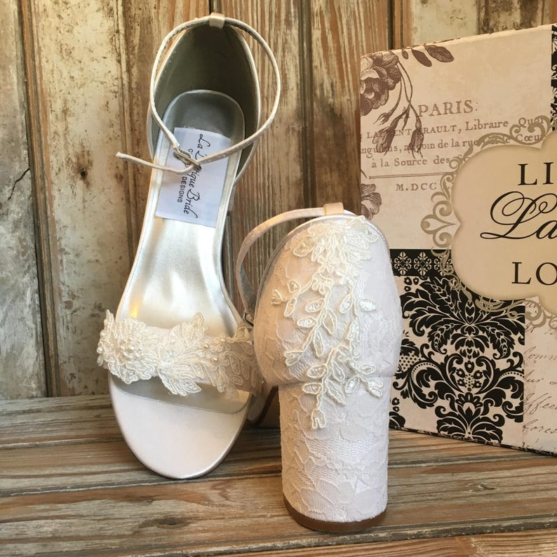 aeb32c52e8f Ankle Strap Chunky Heel Beaded Lace Bridal Shoe Ivory Wedding