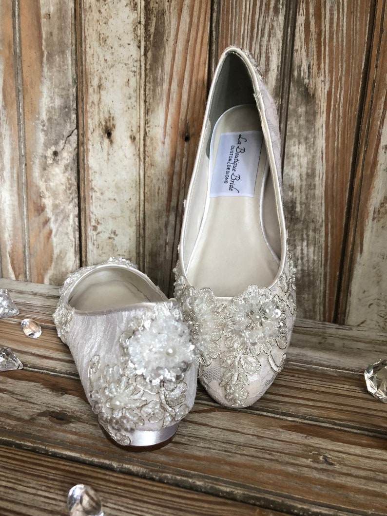 ad28dc7c86eeb Bridal Lace Closed Toe Flat 1/2 inch Heel Lace Beaded Lace Embellished  Silver Thread Closed Toe Pump