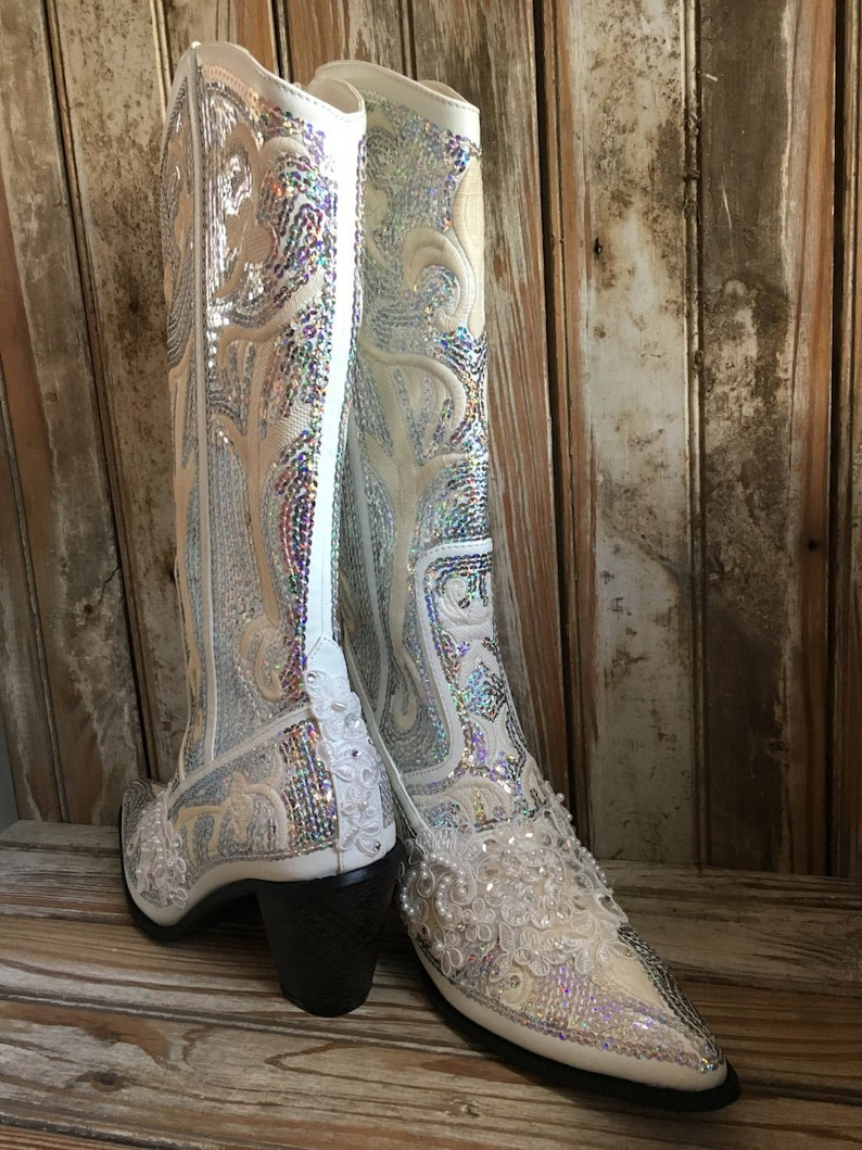 6f6042b916a67 Bling Boot Ivory Bridal Boot Cowgirl Country Wedding Beaded Prom Boot Lace  Sequin Boot Wedding Boot Mother of bride