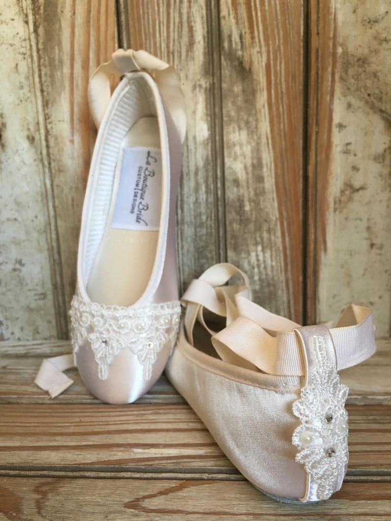 33d51e1c32dfa Flower Girl First Communion Ballet Flat Ankle Lace Beaded Front and Heel  Ivory White