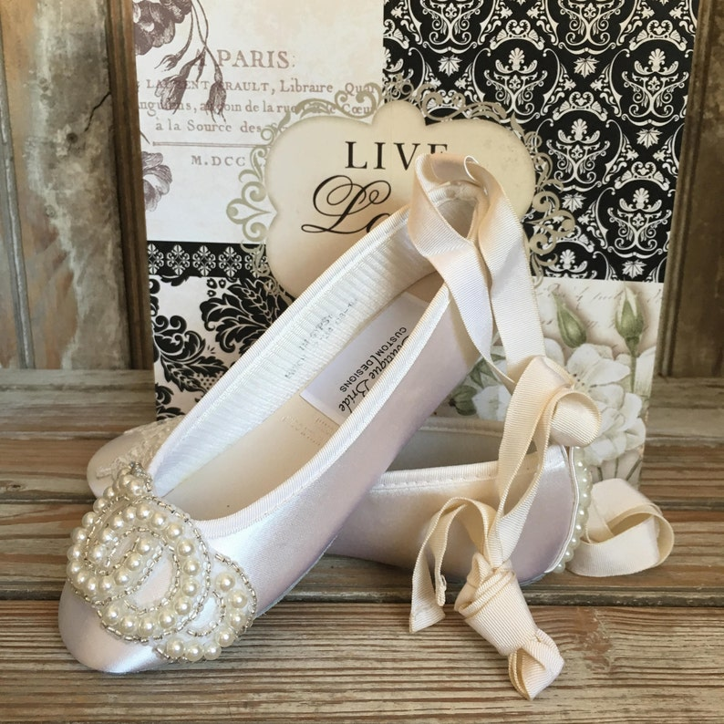 f6daa43755820 Flower Girl First Communion Ballet Flat Ankle Tie Pearl Beaded Front and  Heel Ivory White