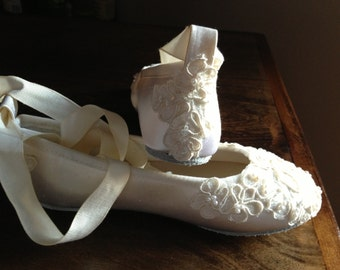 Custom Bridal Lace Flats  Ballet Style Bride Bridesmaid Ankle Strap Ivory White-Bianca