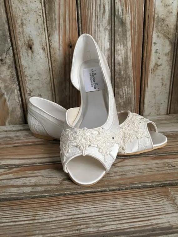 46c043a1b446 Bridal Lace Satin Flats Open Toe Beaded Lace Flats Peep Toe