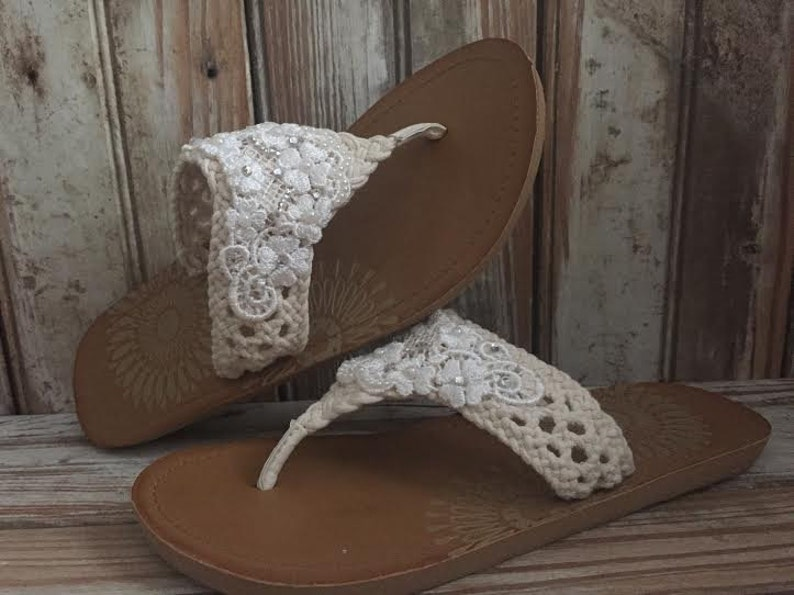 7b5f2ff63 Destination Wedding Beaded Victorian Bride Lace Flip Flop