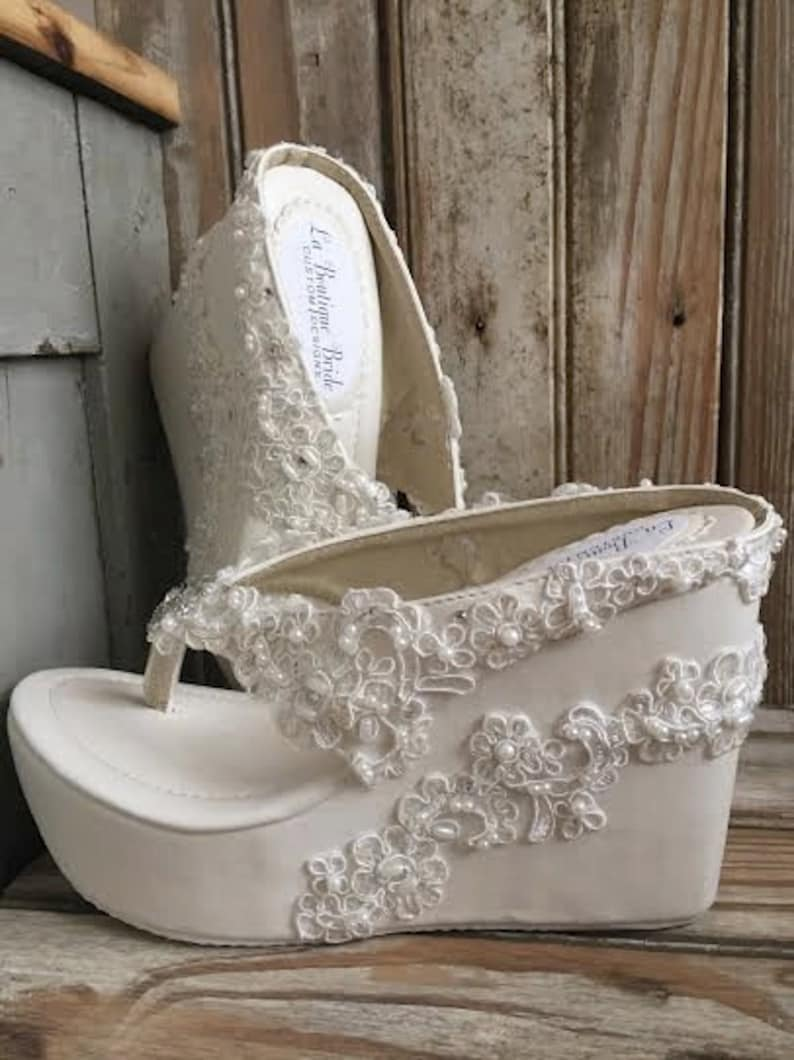 d87887f41 Destination Beach Wedding Wedge Ivory Beaded Lace Flip Flop