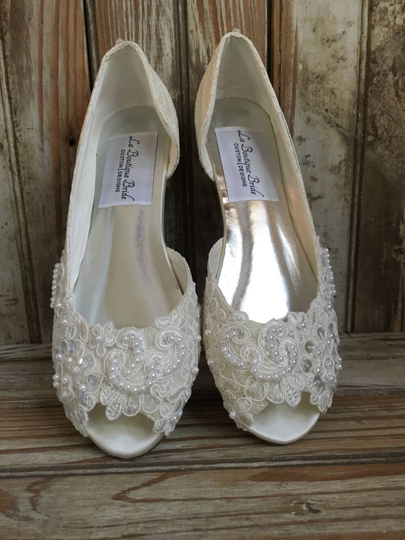 b1095ce26ea Open Toe Lace Beaded Flat Satin and Lace Bridal Shoe Peep Toe
