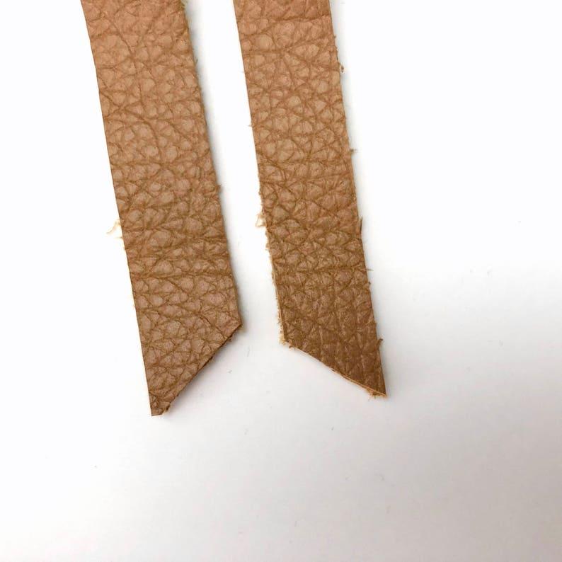 Cognac Leather Earrings Bridesmaid Gift Under 10 Trendy Bar Earrings Brown leather jewelry