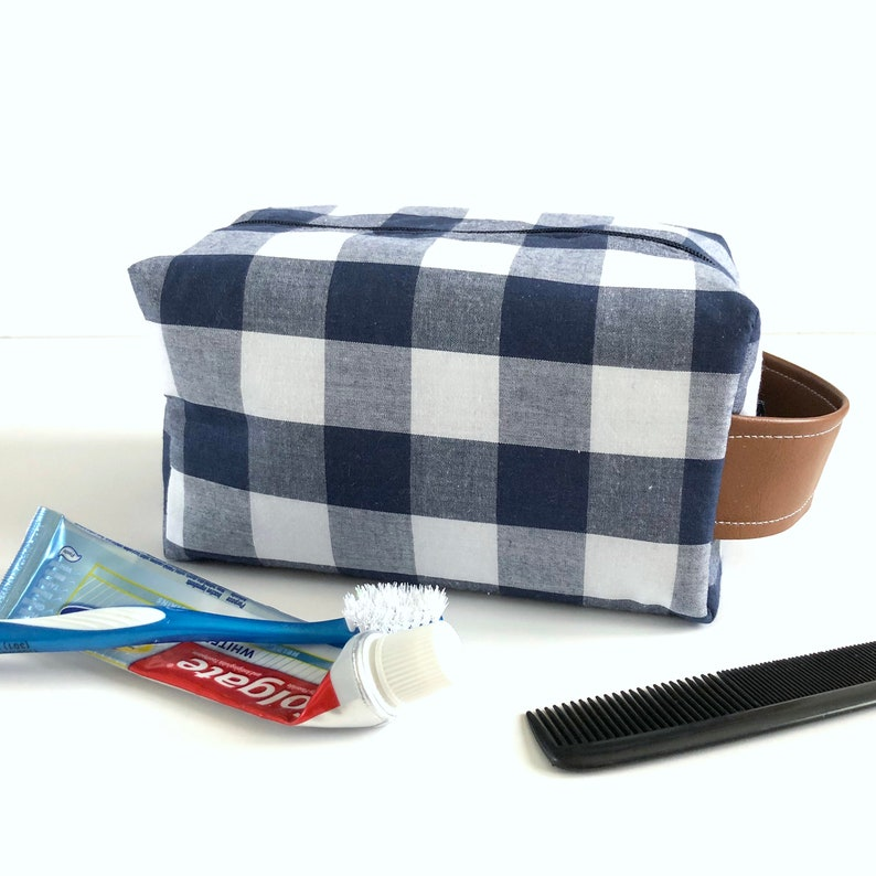 5b53b62a03 Navy Buffalo Check Toiletry Bag Baby Boy Toiletry Case Gift