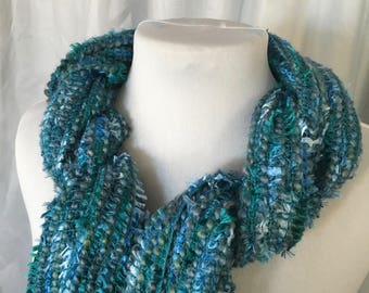 Teal Blues Handwoven Scarf, Blue Scarf, Teal Scarf, Hand Woven Scarf, Woven Scarf, Handmade Scarf