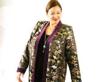 2b81ae19a9 Plus Size Wedding Guest Pant Suit Lined 3 4 Length Formal Coat Black Gold  Green Rose Koi Silk Jacquard Separates Custom Made Sizes 14 - 30