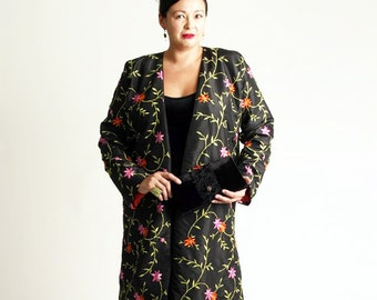 09d7804441 Plus Size Wedding Guest Dress for Fall 3 4 Lined Jacket Black Tangerine Hot  Pink Green Floral Embroidered Beaded Taffeta Sizes 14 - 30