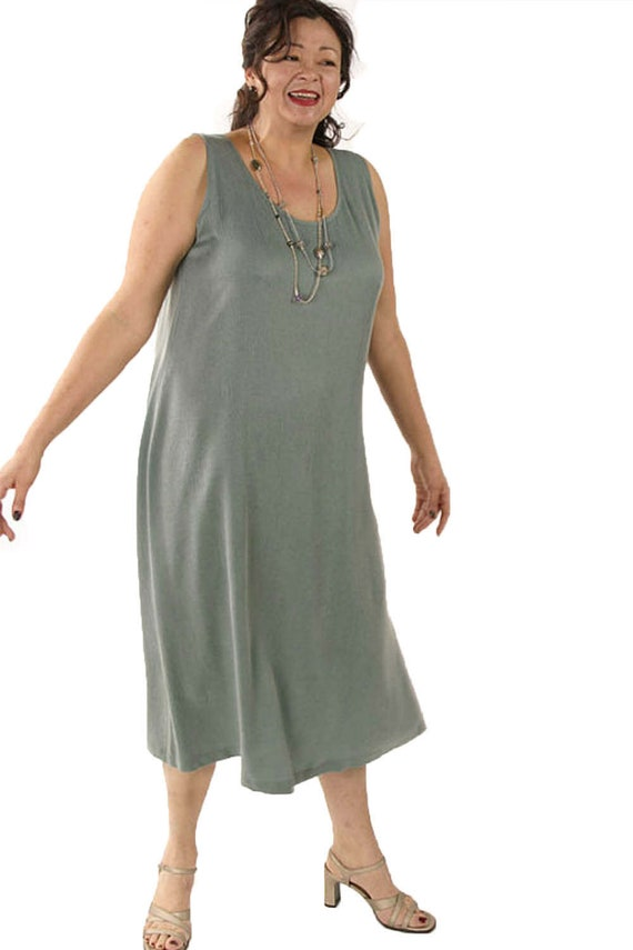 CUSTOM Plus-Size Mother of Bride Dress Sage Sandwashed Silk by Peggy Lutz  Sizes 14 - 30