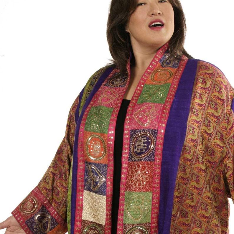 Plus Size Special Occasion Jacket Mother of bride Dress Fuschia Purple Red  Green Gold Sequin Vintage Sari Silk Artwear Dress Custom Made
