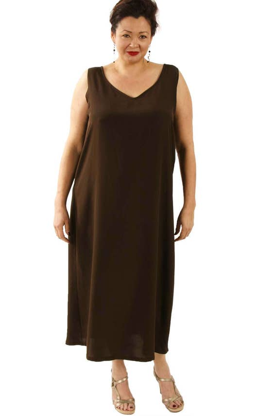 CUSTOM Plus-Size 3/4 Length Tank Dress Chocolate Silk Crepe Mother of the  Bride Dress by Peggy Lutz Sizes 14 - 30