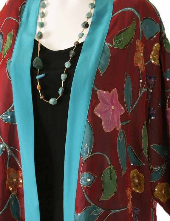 029863ebd20 Plus Size Dressy Beaded Jacket Handpainted Silk Floral Red