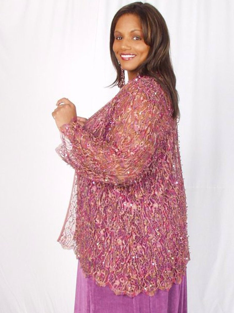 5257695b30a Plus Size Special Occasion Jacket Pink Sequin Lace Size 22/24 | Etsy